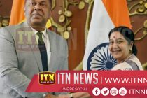 Minsters Mangala Samaraweera and Sushma Swaraj meet