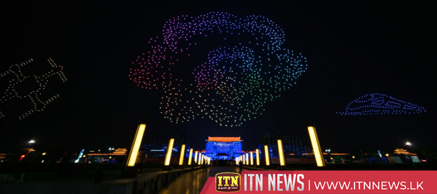 Magnificent drone show illuminates ancient Chinese city