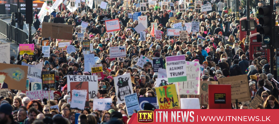 Aerials of tens of thousands anti-Trump protesters marching in London
