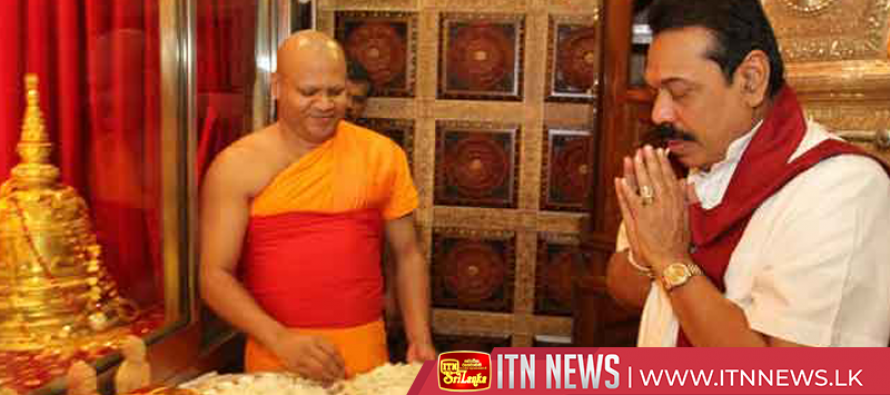 PM Rajapaksa pays homage to Sacred Tooth Relic