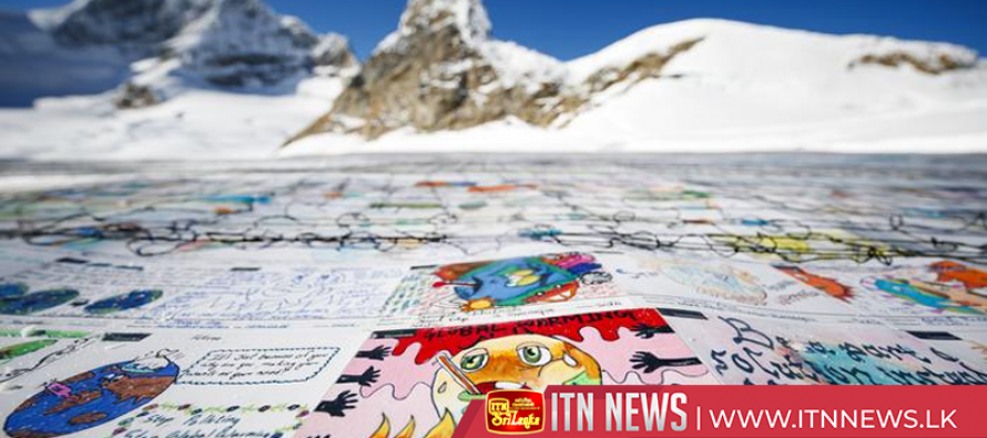 Shrinking Swiss glacier gets climate change postcard