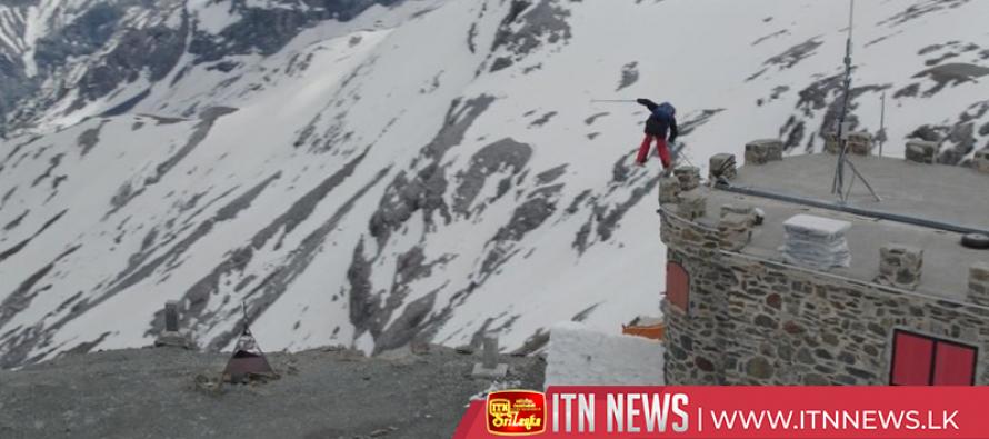 Freestyle skiers jump roads in breathtaking mountain run