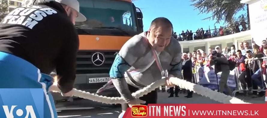 Strongman Elbrus pulls truck in show of Herculean strength