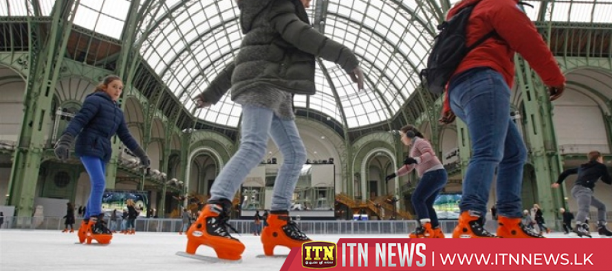 Giant ice rink opens under the dome of Paris' Grand Palais