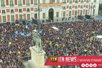 Thousands of striking taxi drivers protest in central Madrid