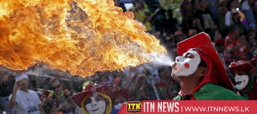 Flour explodes in Greek carnival tradition