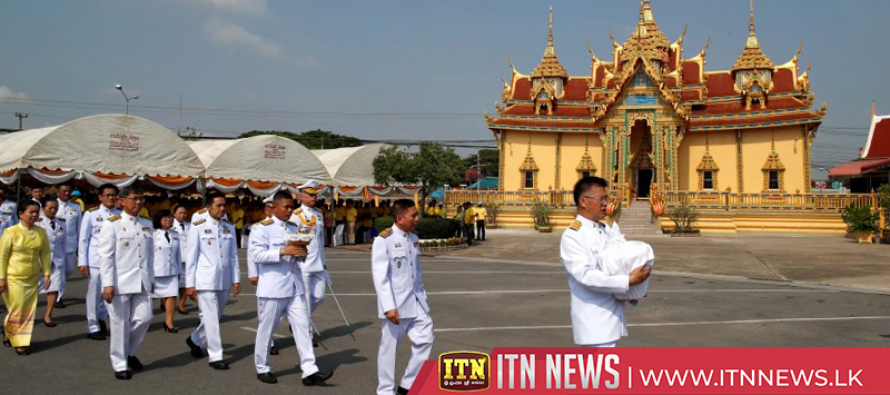 Monks bless water gathered from sacred sources for Thai king's coronation