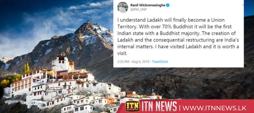 The Prime Minister tweets on Ladakh