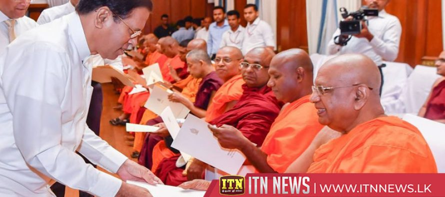 The President hands over funds to 36 temples