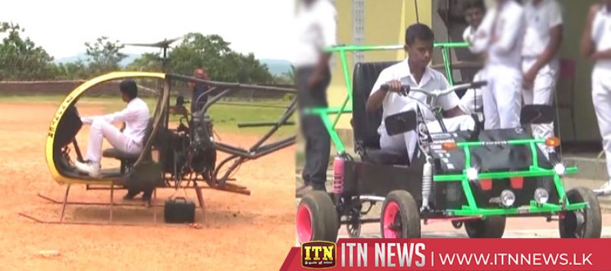 Two school students produce a helicopter and a motor car