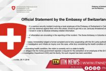 The Swiss Embassy says it is fully cooperating with the Sri Lankan authorities