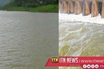 Fourteen sluice gates of Rajanganaya reservoir opened