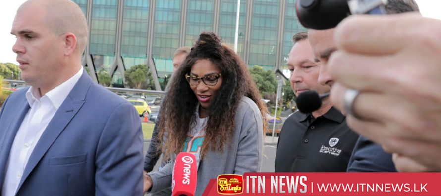 Serena Williams touches down and trains in New Zealand