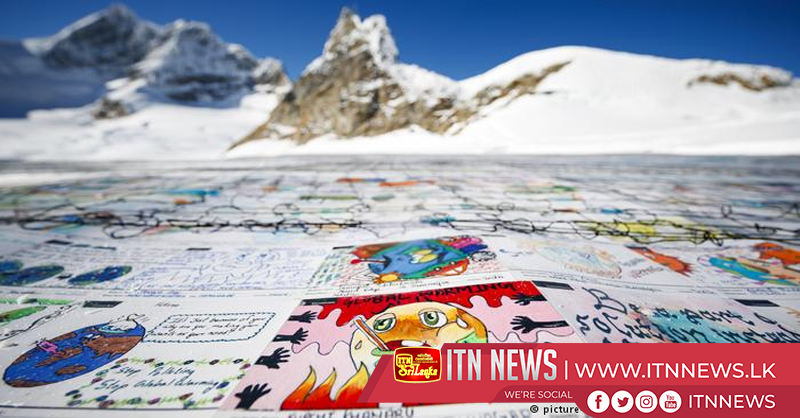 Shrinking Swiss glacier gets climate change postcard