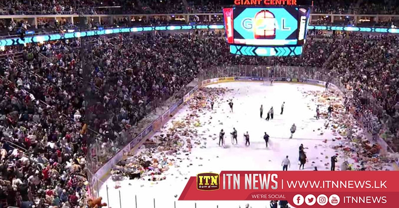 "Hockey fans set record in charity ""Teddy Bear Toss"""