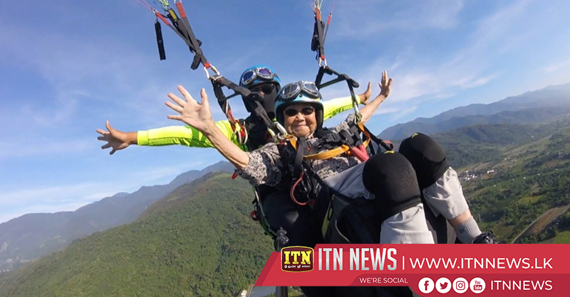Taiwan's oldest paraglider, 93 year-old grandmother, flies across the skies