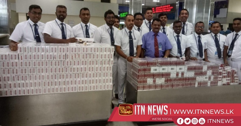 Two suspects arrested at Katunayake airport with cigarettes valuing nearly 4 million rupees
