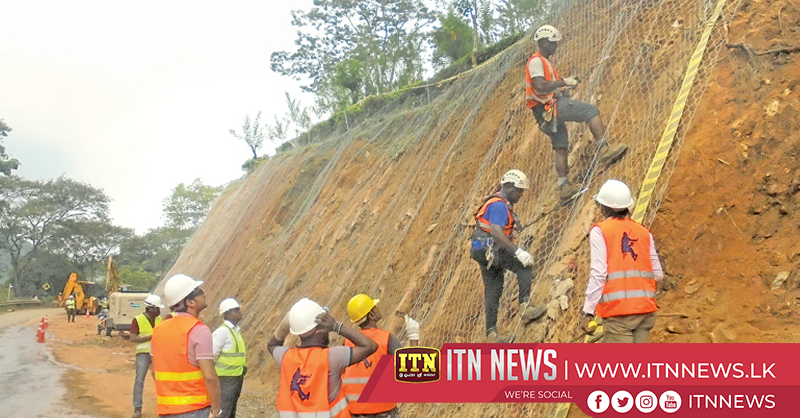 Constructionon roads prone to landslides to prevent earthslips
